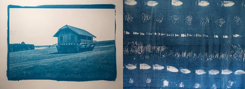Blaudruck von Hania Kartusch auf Papier und von Anita Prammer auf Textilien