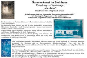Blaudruck Sommerkunst_2017_Einladung_alles-blau_Hania-Kartusch